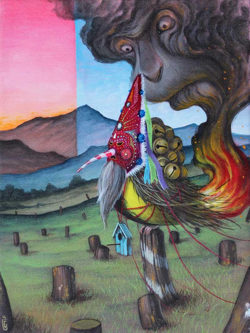 El Gato Chimney, The Watchers, 2014, Acrylic On Canvas, 18x24 Cm