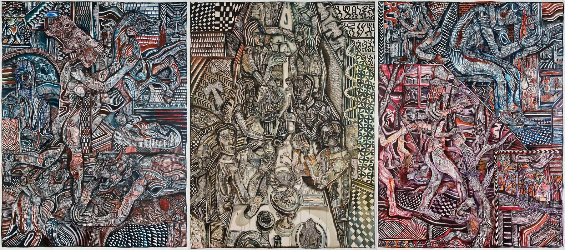 Zio Ziegler, The Senses (triptich), 2015, Mixed Media On Three Canvas, 244x183 Cm (each)