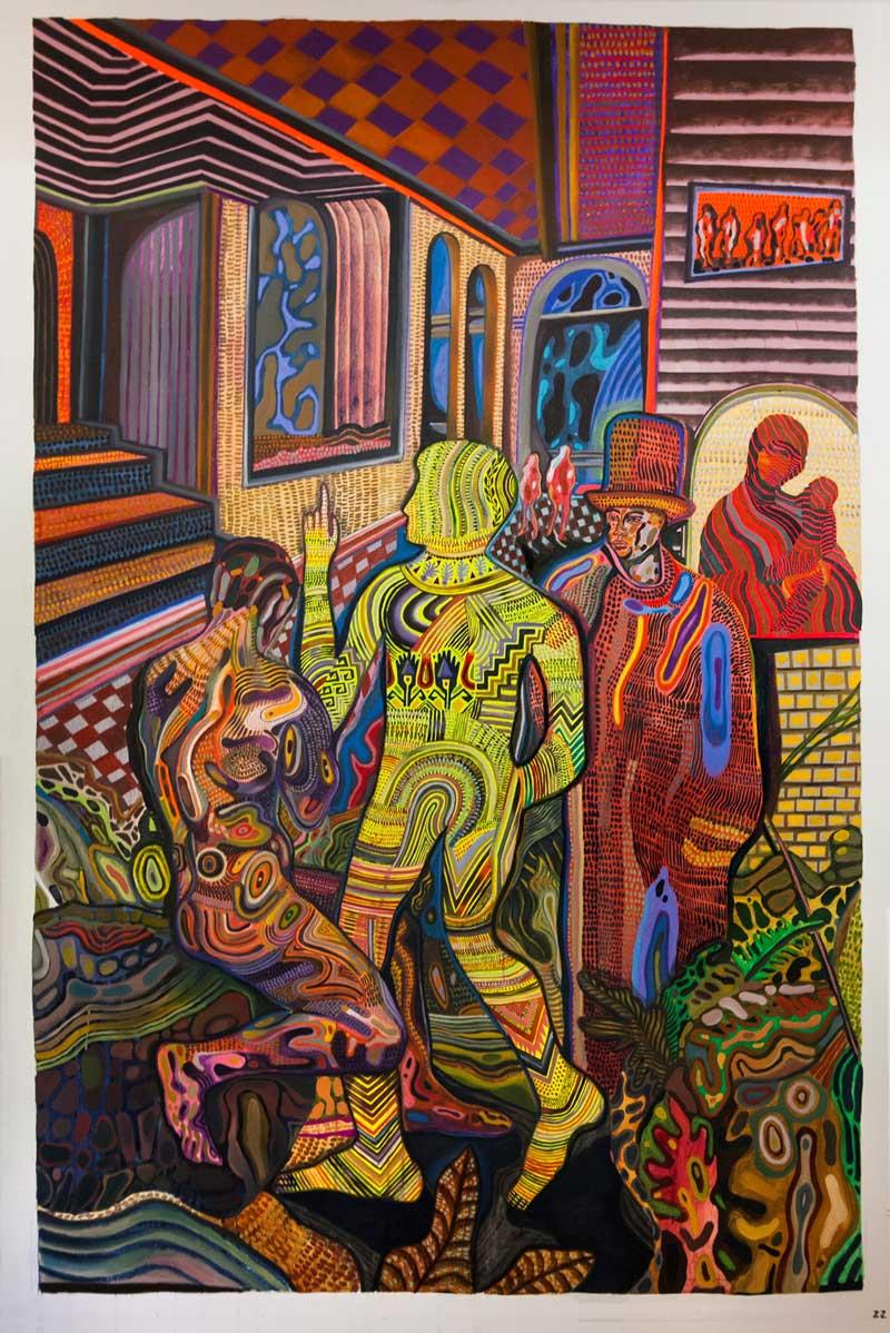 Zio Ziegler, The Association Matrix, 2015, Oil, Acrylic, Mixed Media On Canvas, 243x162 Cm