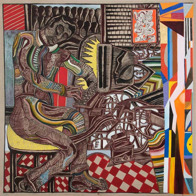 Zio Ziegler, The Basic Understanding Of The Internet, 2015, Mixed Media On Canvas, 183x183 Cm
