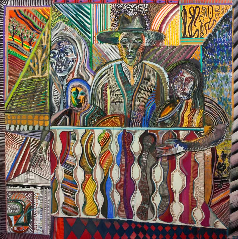 Zio Ziegler, The Rear Window, 2015, Acrylic And Mixed Media On Canvas, 182x182 Cm