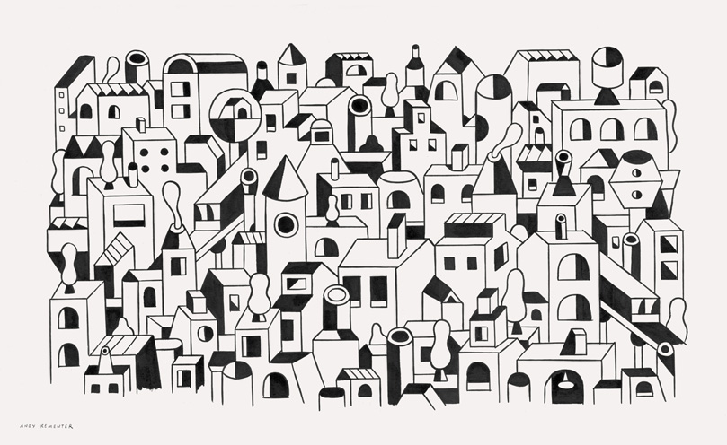 Andy Rementer, CITY, 2015, ink on paper, 52x32 cm