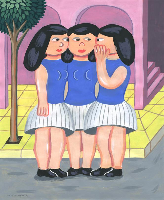 Andy Rementer, SECRET, 2015, acrylic on paper, 43x35,6 cm