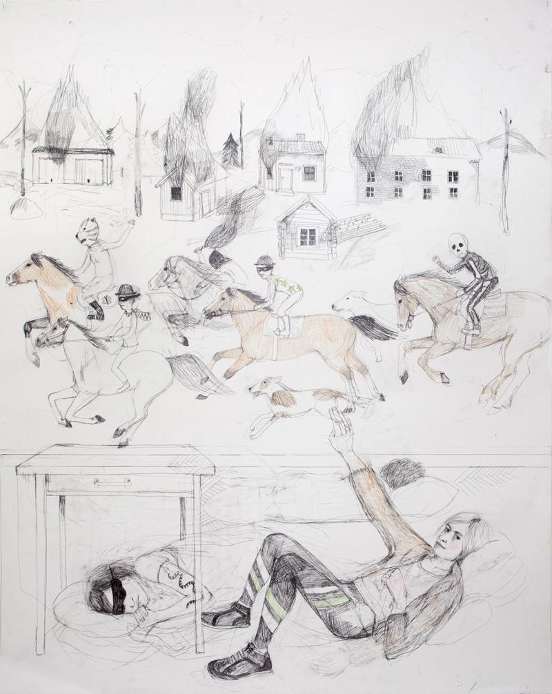 Erika Nordqvist,The Riders, 2016, pencil on paper, 120x150 cm