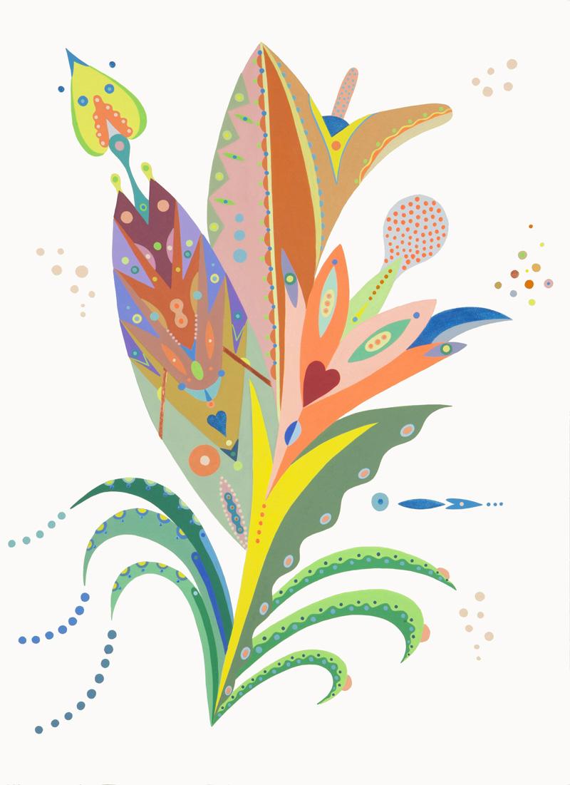 Fulvia Mendini, Orchidea della foresta, 2015, acrylic on paper, 77x56 cm