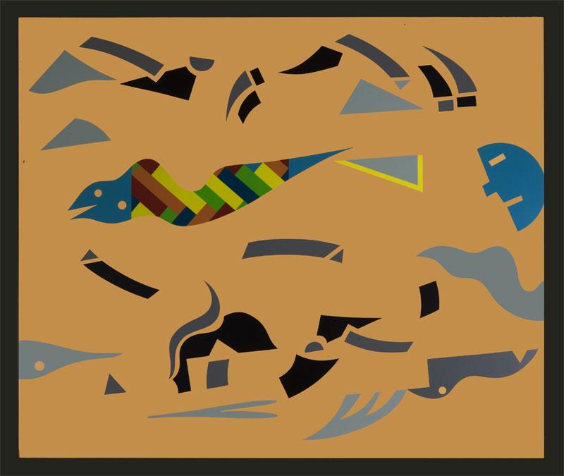 A. Mendini, Senza Titolo, 1996, nitro su legno, cm 75×90