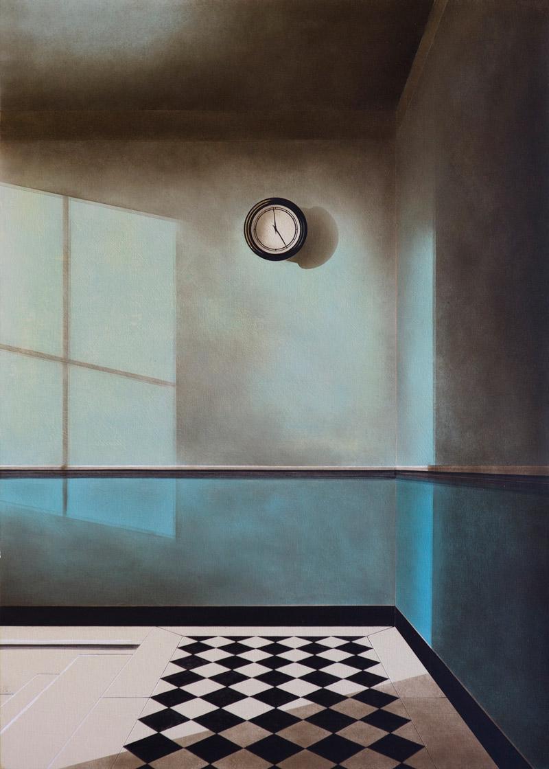 Arduino Cantafora, Avec le Temps I, 2016, vinilico e olio su tavola, 70×50 cm