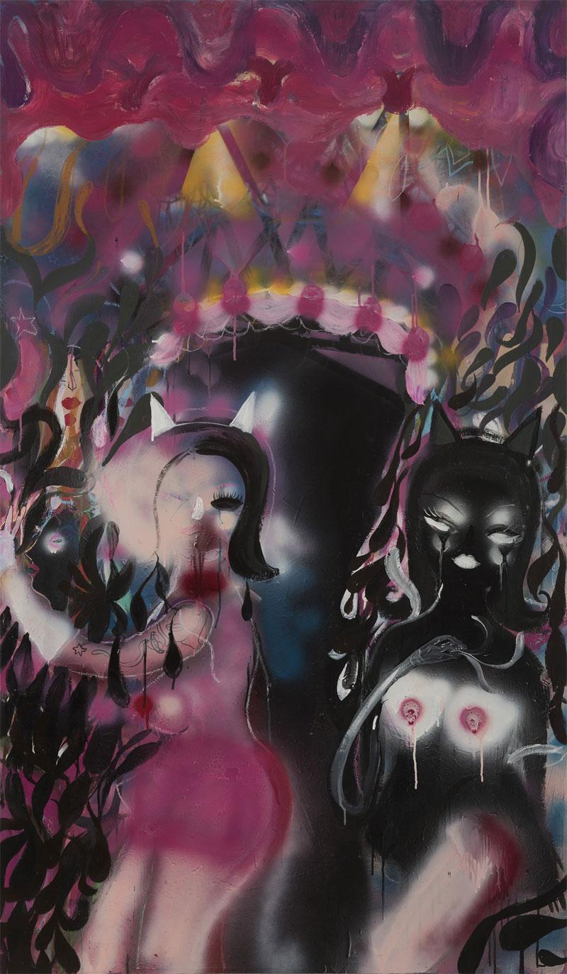 Silvia Argiolas, Pussy Gate, 2016, Mixed Media On Canvas, 100×170 Cm