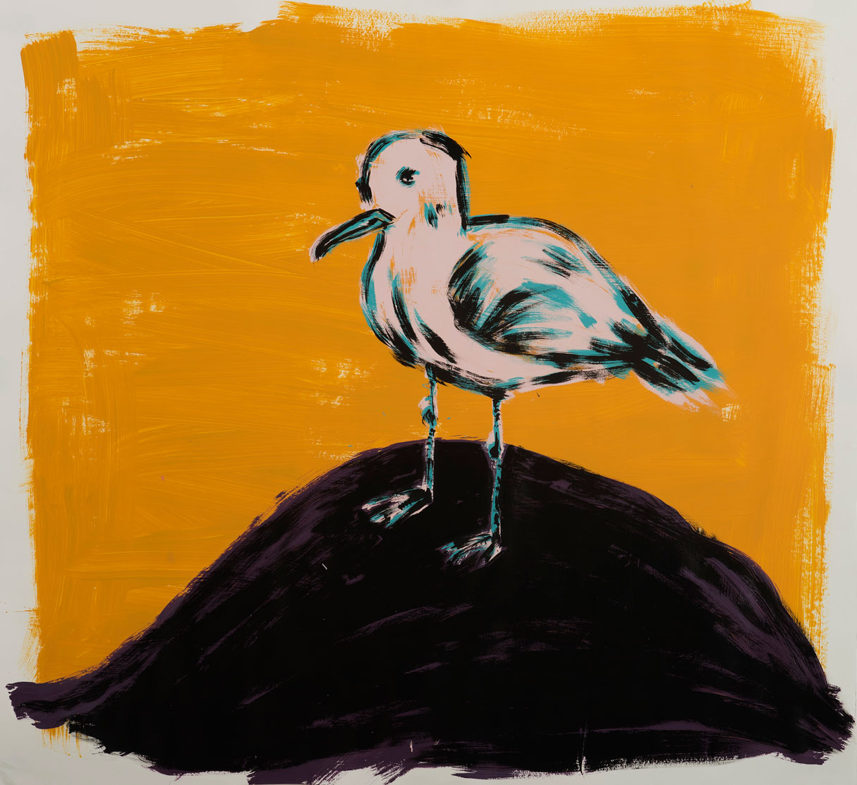 Russ Pope, Pink Gull, 2016, acrylic on paper, 110x110 cm