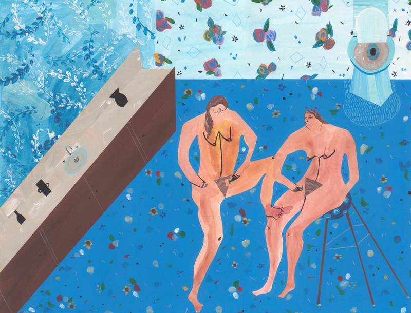 Andrea Heimer, Two girls shaving, 2016, acrylic and pencil on paper, 28×35 cm