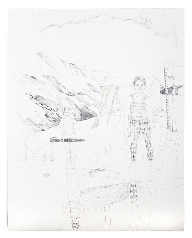 Erika Nordqvist, Sunday at the chalet, 2016, mixed media on paper, 150×120 cm