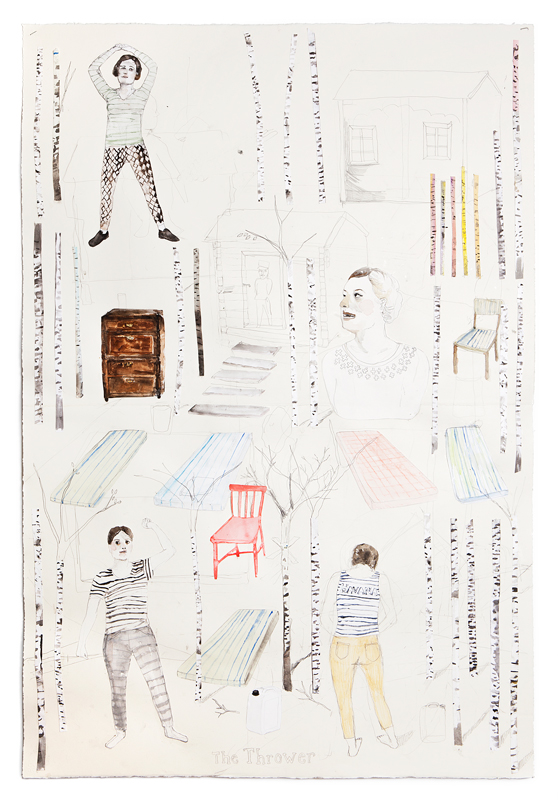 Erika Nordqvist, The thrower, 2016, collage watercolour and pencil on paper, 112×76 cm