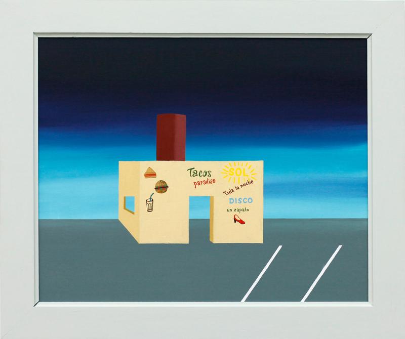 richard johansson, disco un zapato, 2016, oil on panel, 33×41 cm, framed 49×41 cm