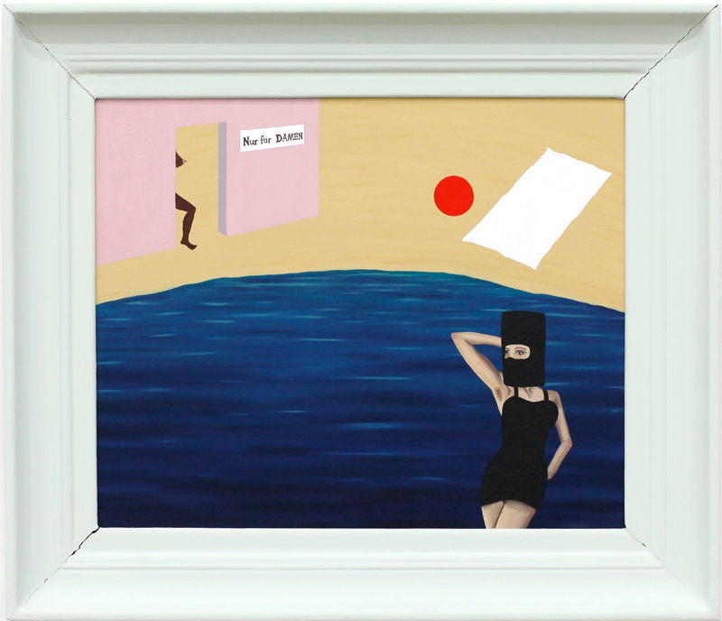 Richard Johansson, Nur fur damen herren, 2016, oil on panel, 38×46 cm