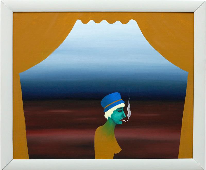 Richard Johansson, the worlds worst theater, 2016, oil on panel, 25×31 cm