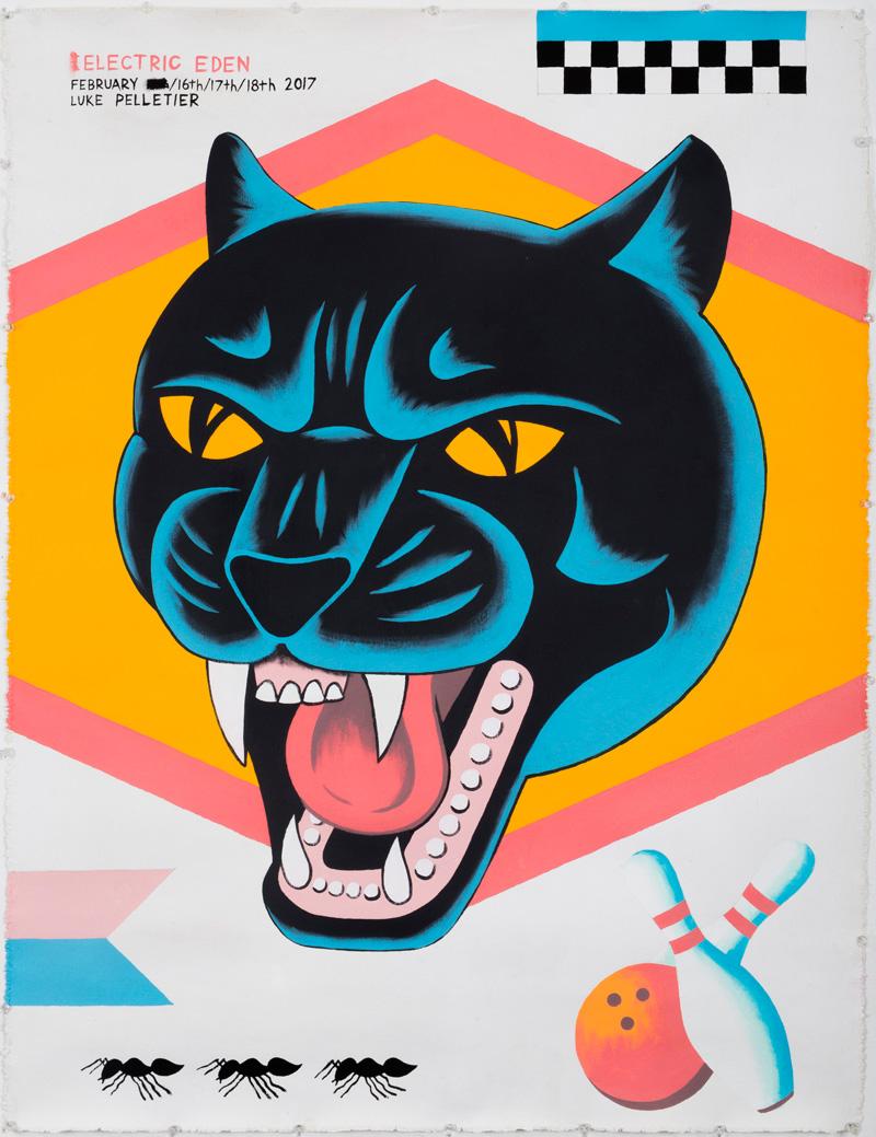 Luke Pelletier, Electric eden, 2017, acrylic on canvas, 106×81 cm