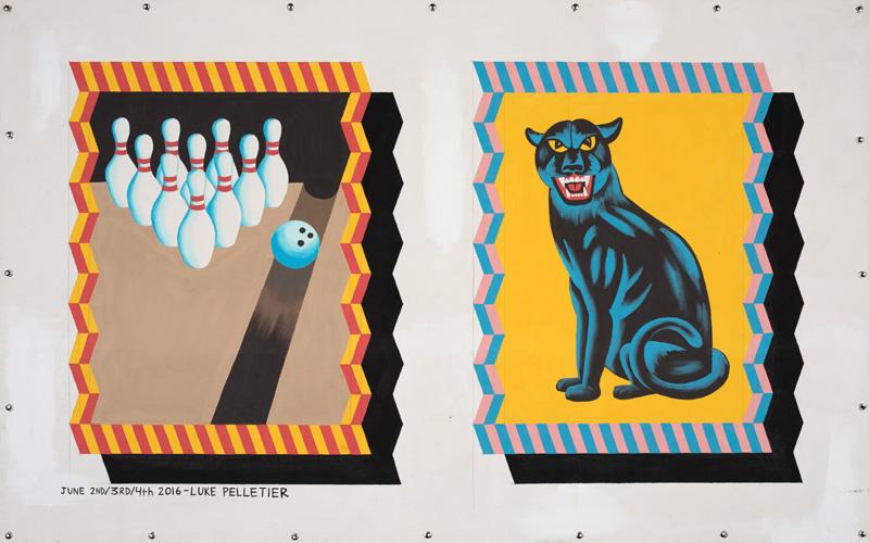 Luke Pelletier, Gutter ball, 2016, acrylic on canvas, 116×162 cm