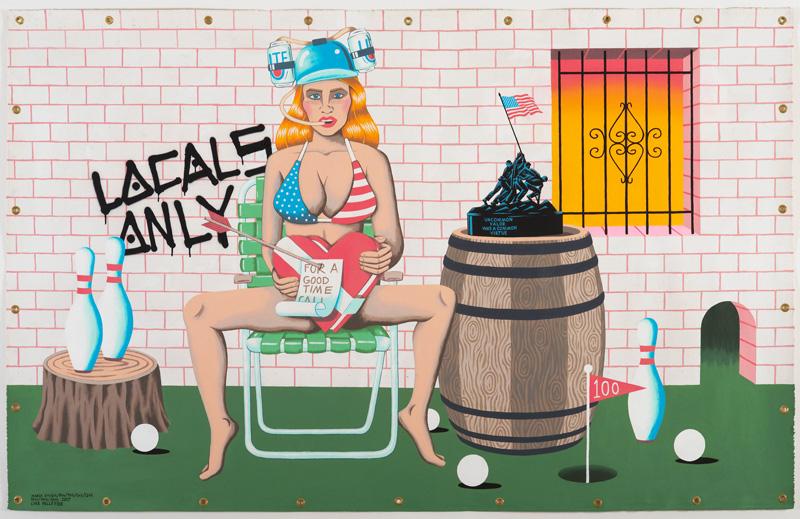 Luke Pelletier, Locals Only, 2017, acrylic on canvas, 243×152 cm