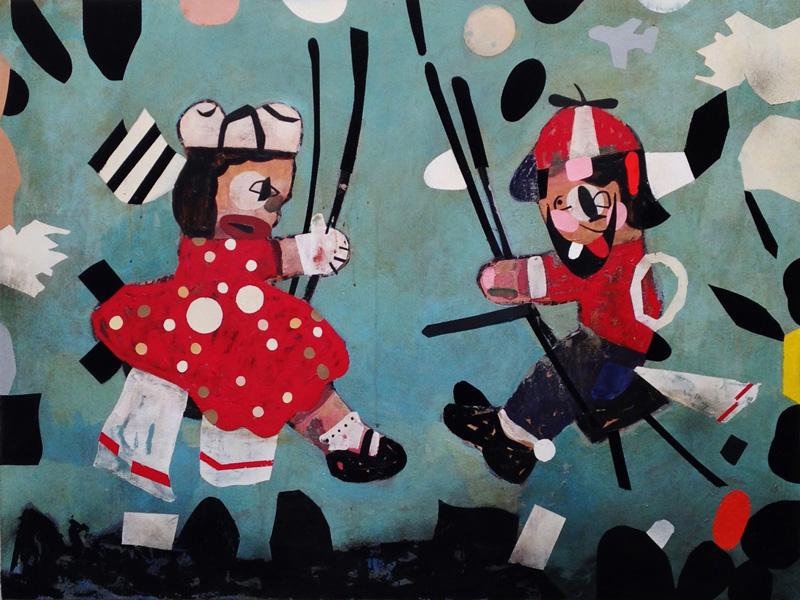 T.L. Solien, Swingers, 2014, acrylic and enamel on canvas, 91×121 cm
