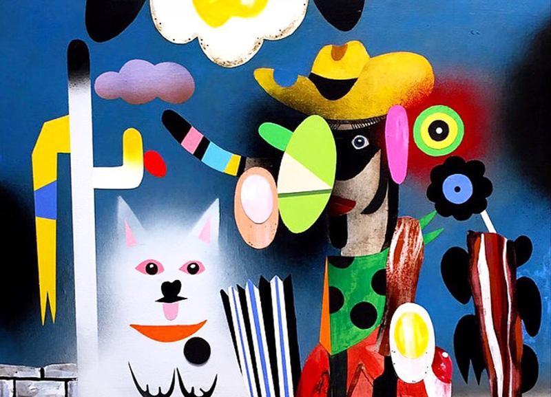 T.L. Solien, Sad Western Culture, 2016, acrylic and enamel on canvas, 58×79 cm
