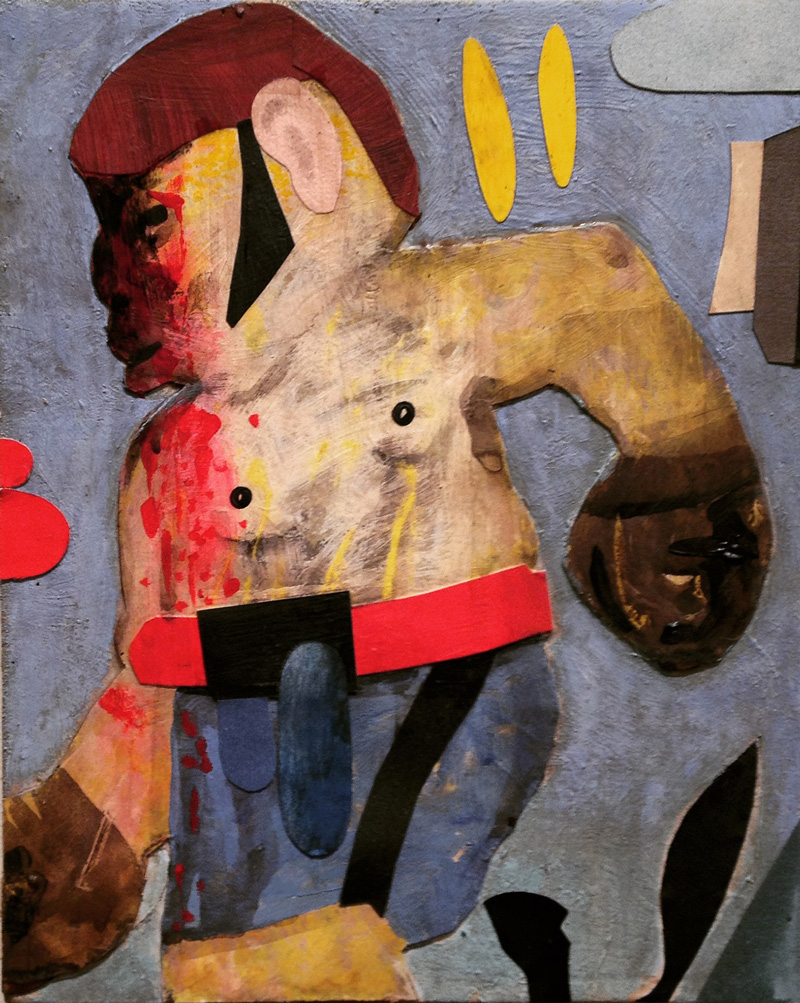 T.L. Solien, Donkey Boxer, 2014, acrylic, enamel and collage on panel, 25×20 cm