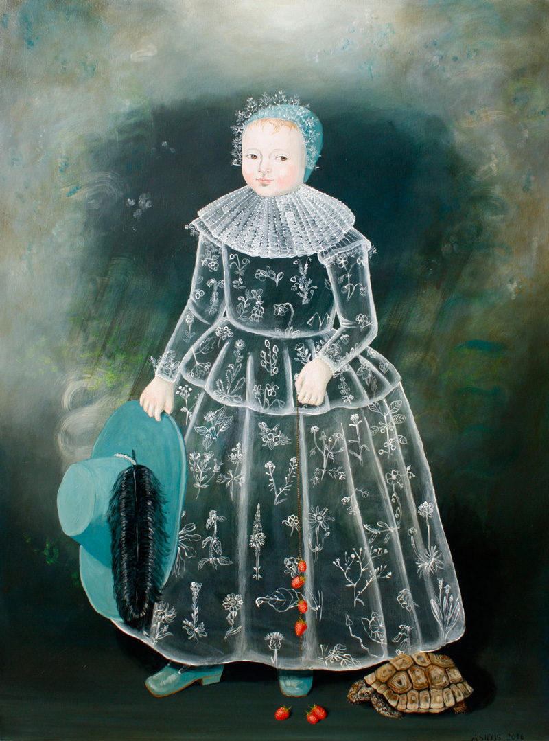 Anne Siems, Girl with Turtle, 2016, acrylic on board, 122×91 cm
