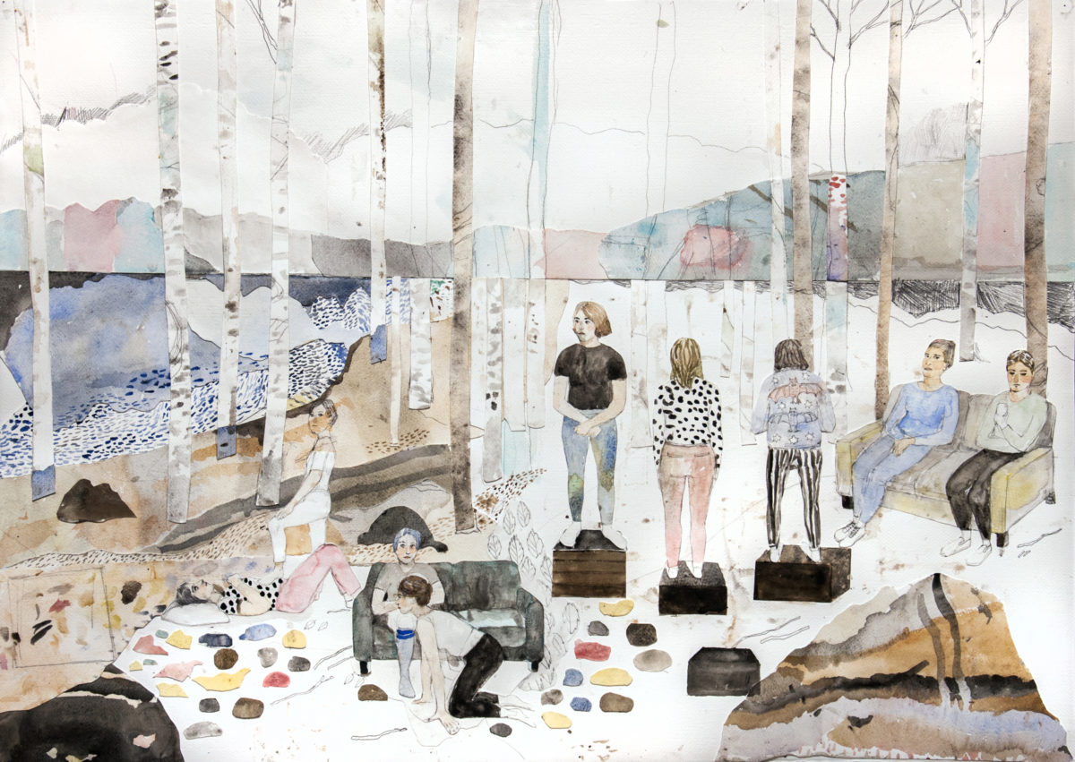Erika Nordqvist, For the time being, 2017, collage and mixed media on paper, 70,5×100 cm