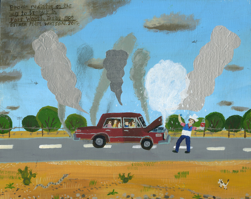 Esther Pearl Watson, Broken Radiator, 2017, mixed media on board, 20,3×25,4 cm