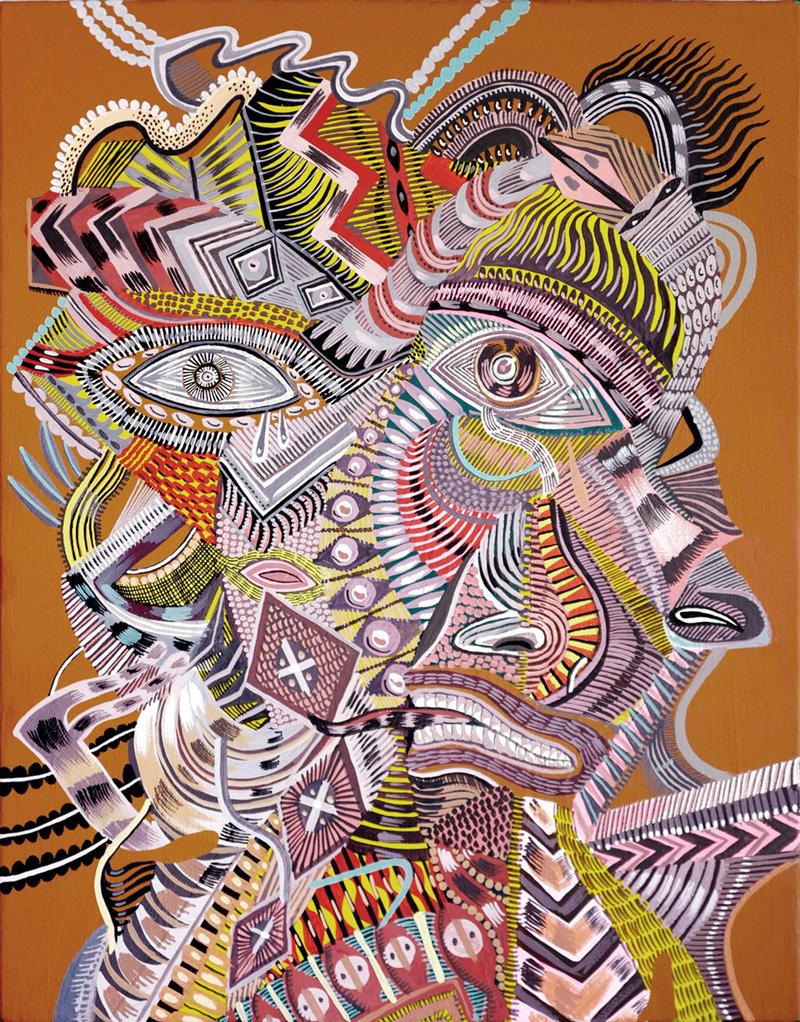 Zio Ziegler, The Event Horizon, 2017, mixed media on canvas, 45×35 cm