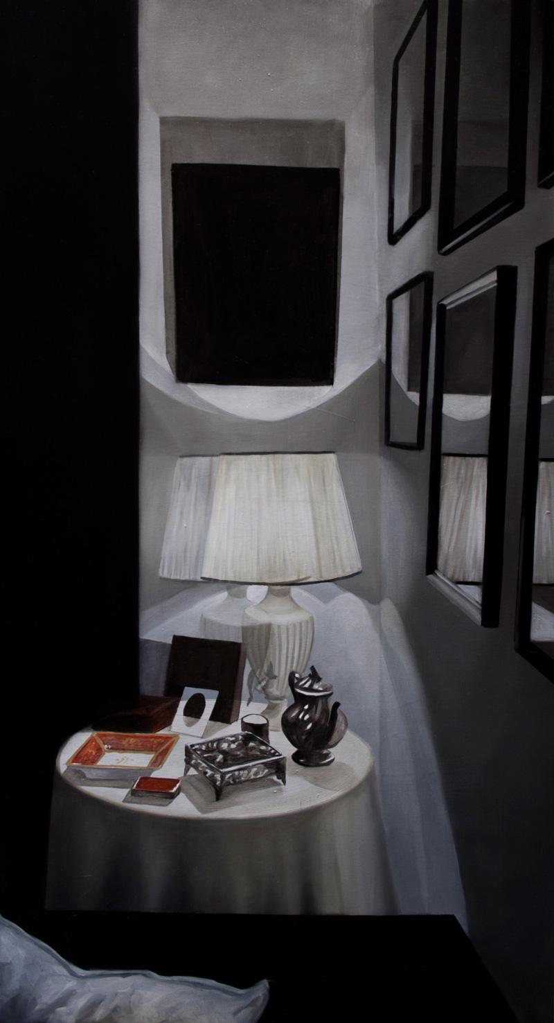 Dario Maglionico, Studio del buio, angolo, olio su tela, 100×55 cm, 2016