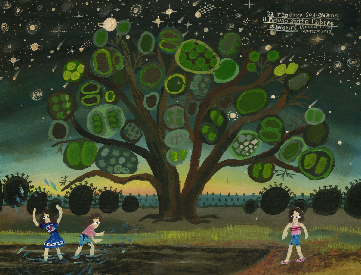 Esther Pearl Watson, Under the Dancing Tree, 2017, mixed media on board, 28×35,5 cm