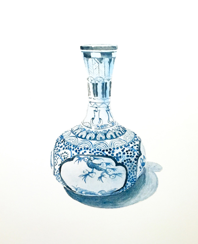 Joshua-Huyser,-Japanese-Vase,-2016,-Watercolor,-36.5×28-cm