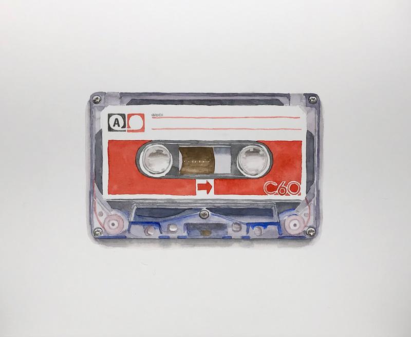 Joshua Huyser, Cassette #6, 2018, watercolor on paper, 36×44.3 cm