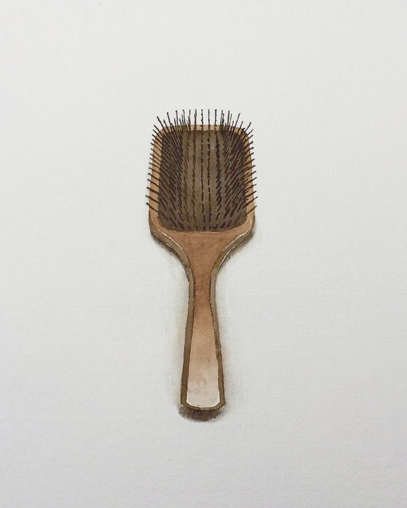 Joshua-Huyser,-hair-brush,-watercolor-on-handmade-paper,-50.5cm-x-40.5cm,-2016