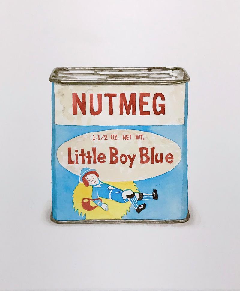 Joshua Huyser, Little boy blue, 2018, watercolor on paper, 38.5×31.5 cm
