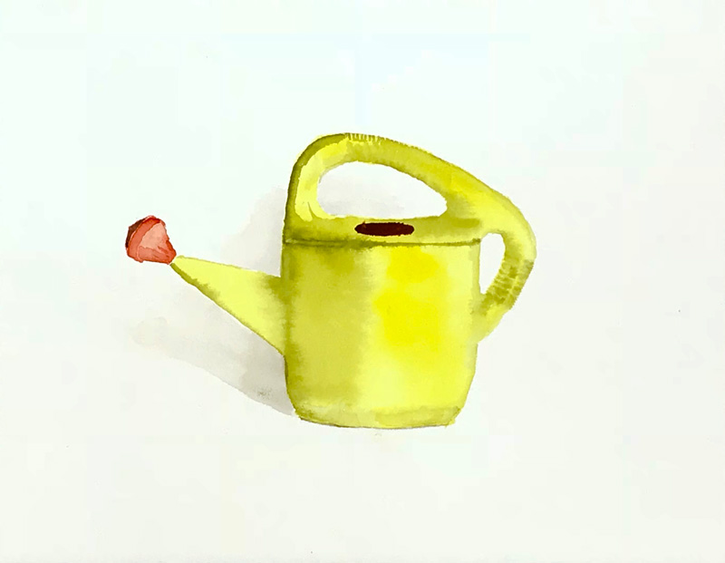 Joshua-Huyser,-yellow-plastic-watering-can,-watercolor-on-paper,-24.8cm-x-31.5cm,-2015