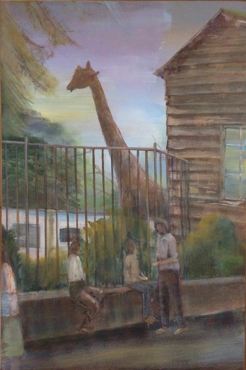 Peter Busch, Giraffe, 2017, acrylic on canvas, 150×80 cm