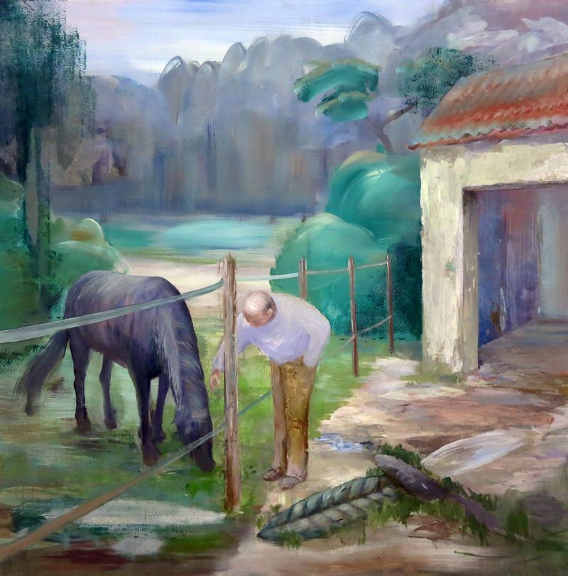 Peter Busch, Hengst, 2016, acrylic on canvas, 100×100 cm