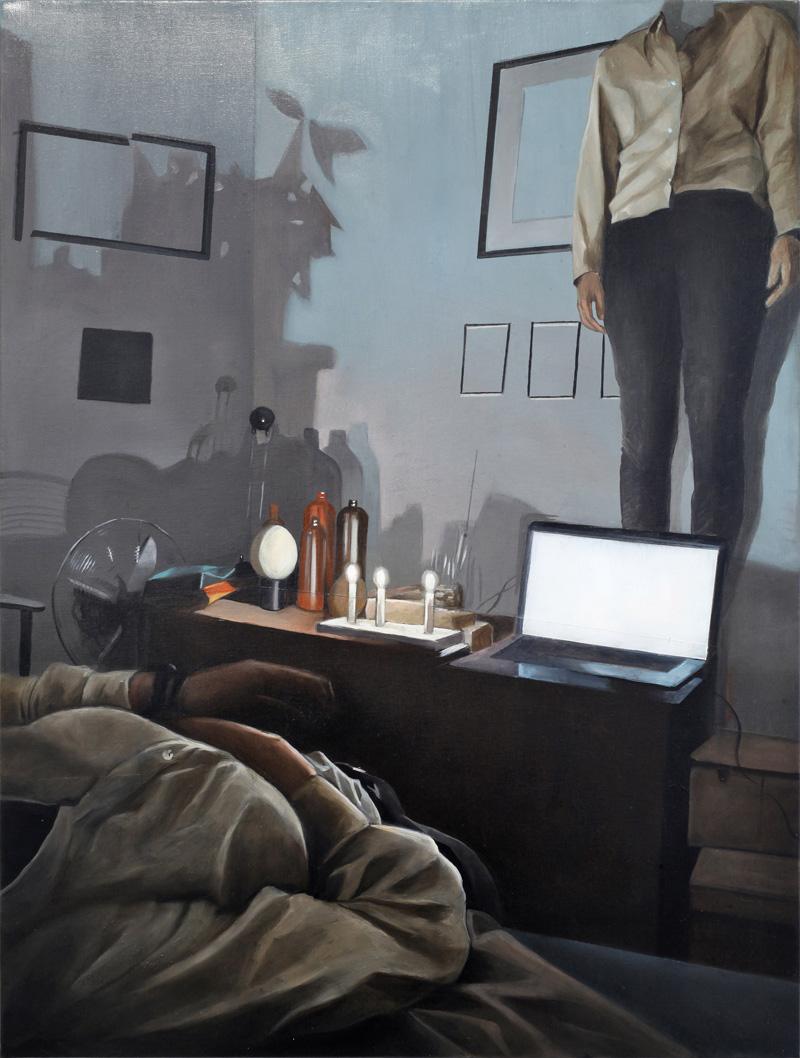 Dario Maglionico, Reificazione #44, 2018, oil on canvas, 60×45 cm