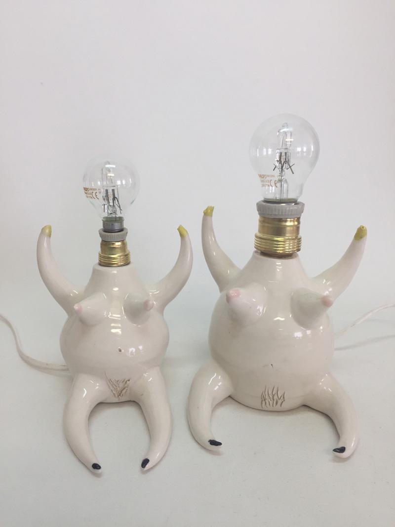 Lusesita, Lamps of Lus, 2018, ceramic and enamel, different sizes