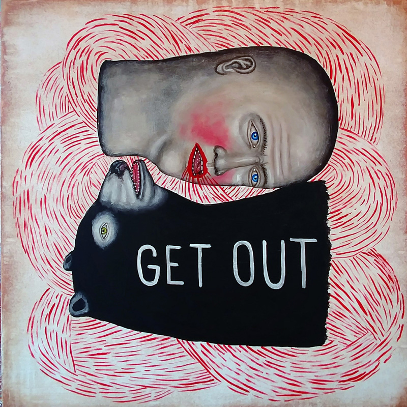 Fred Stonehouse, Get out, 2017, acrylic on wood, 30,5×30,5 cm