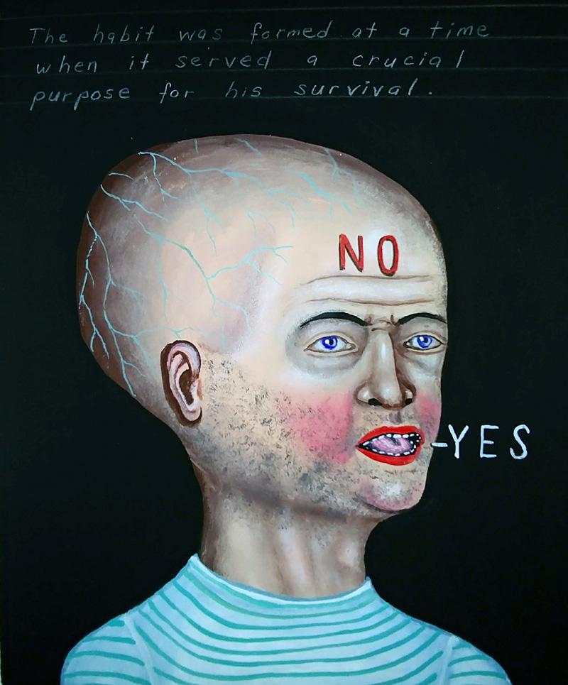 Fred Stonehouse, NoYes, 2018, flashe on paper, 25,5×20,3 cm
