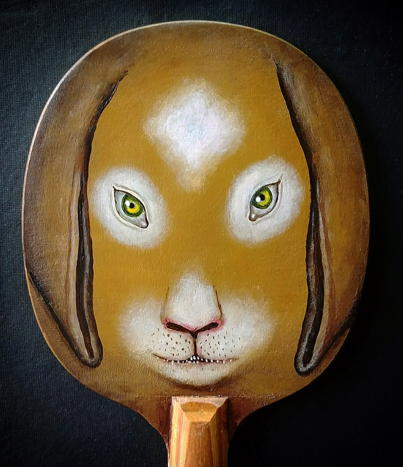 Fred Stonehouse, Rabbit paddle, 2018, acrylic on vintage ping-pong paddle, 26×16,5 cm