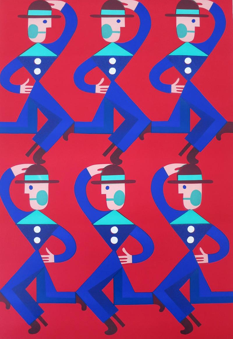 Christoph Ruckhaberle, Untitled 5, 2017, lino cut edition 100, 100×70 cm
