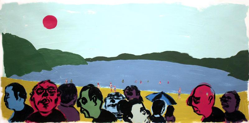 Russ-Pope, Echo Lake, acrylic on paper, 97×197 cm