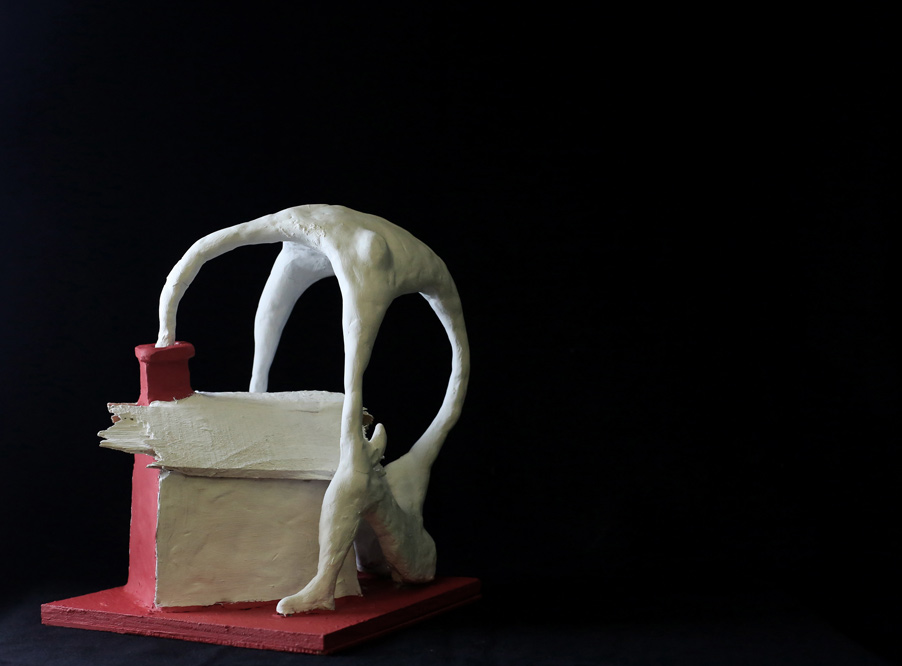 Mario Bobbio, clay and wood, 22x22x30 cm, edition of 6