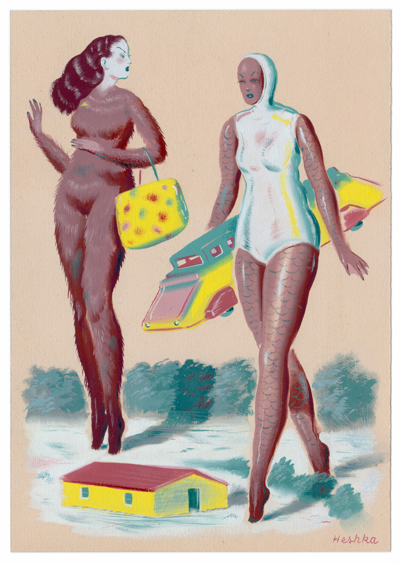 Ryan Heshka, Bounty of the Surface World, 2018, gouache and mixed media on paper, 19×13 cm