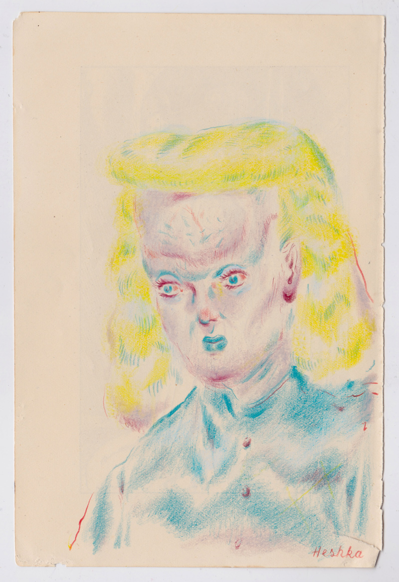 Ryan Heshka, Nurse Brainius, 2018, pencil crayon on paper, 18×12 cm