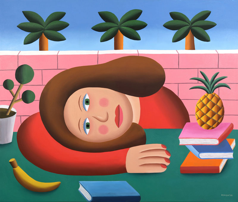 Andy Rementer, Fast food, 2019, oil on canvas, 100×122 cm