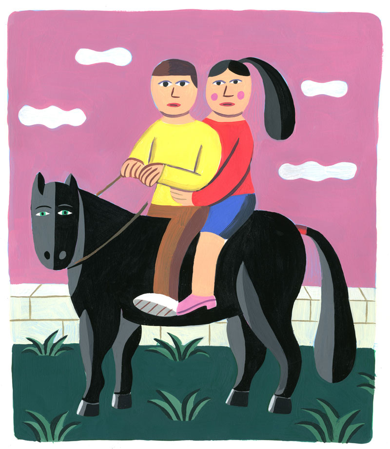 Andy Rementer, Horse, 2018, acrylic on paper, 43×36 cm